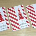 Set 3 Merry Christmas cards - Red & white  - FREE POST