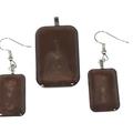 Earrings and Pendant Set in Brown