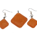 Hand Painted Orange Earrings and Pendant