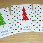 Set 3 Merry Christmas cards - Red & green - FREE POST