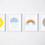 Rainbow Set of 4 printable  typography print, wall art quote, typography