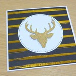 Set 4 Merry Christmas cards - Gold deer - FREE POST