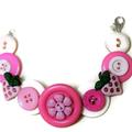 Pink button bracelet -Strawberry Fields
