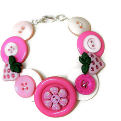 Pink button bracelet -Strawberry Fields