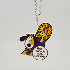 Best Friends Series : Melanie & Bagel Original Art Print with Quote Necklace