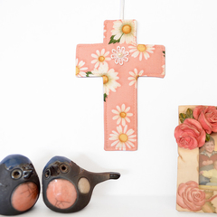 Wall cross home decor in peach daisy fabric