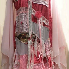 Pink Fairytale Wedding Patchwork Coat ~ OOAK - Size 16 - 18
