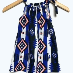 Handmade Girls Aztec Print Dress, bright colours, great gift - Sizes 1, 2, 3