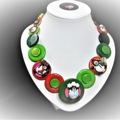Christmas  button necklace - Frosty and Friends