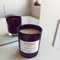 Salted Caramel Scented 100% soy wax candle. Black Medium glass tumbler, 180g