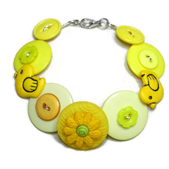 Button Bracelet - Yellow ducks
