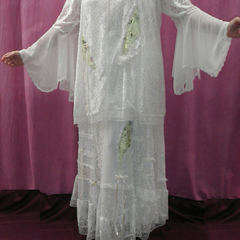 Ivory Lace Lime Green Chiffon Wedding Dress Set ~ Plus Size 4XL