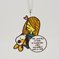 Best Friends Series : Melanie & Bagel Original Art Print with Quote Necklace