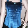 Pretty Jade Velour Fairy Dress ~ Black Lace Hankie Skirt Pixi Trim - Size 10