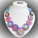 Button necklace - Circus Stars