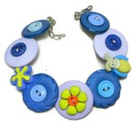 Button bracelet - Blue Bug