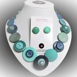 Button necklace & earrings - Ocean blues