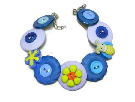 Button bracelet - Blue Bug
