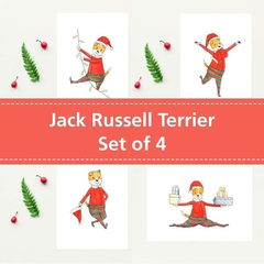 Jack Russell Terrier Christmas Cards Set of 4, Dog Christmas card, Puppy
