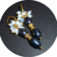 Natural Tahitian rice black pearls and white Opal earrings