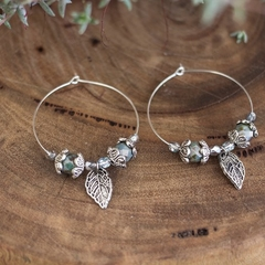Green & Silver Gypsy Style Hoop Earrings