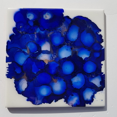 Fantasy Hydrangea - Original painting on ceramic