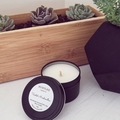 Lavender Scented 100% soy wax travel tin candle. 4oz, 92g, small, black