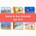 Santa & Australian Animal Christmas Card Set of 6, Santa Claus, Australian Chris