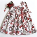 Size 3 - 'Silver and Red Baubles' Christmas Dress