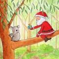 Santa & Koala Christmas Card, Australian Animal Christmas Card, Koala, Australia