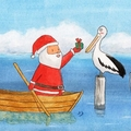 Santa & Pelican Christmas Card, Pelican, Australian Animal Christmas card, Austr