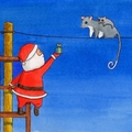 Santa & Possum Christmas Card, Australian Animals Christmas, Santa