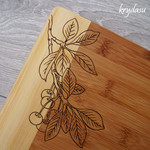 Wood Burnt Cherry Branch Bamboo Cutting Board