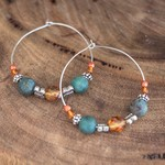 SURI Silver Hoop Gemstone Earrings