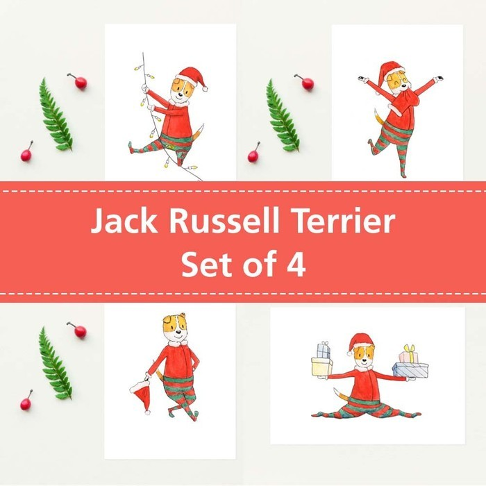 jack russell christmas cards set of 4 jack russell terrier elf christmas card - Elf Christmas Card