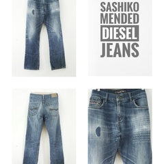 Sashiko Repaired Diesel Jeans | Hand Stitched | Visible Mending