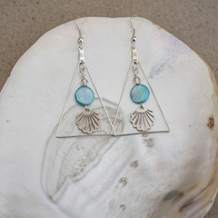Silver Mother of Pearl Geometric Earrings