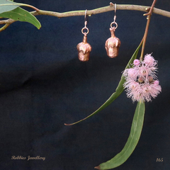 Copper plated gum nut earrings