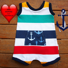 Baby Boys Romper, baby boys shortalls, baby boys shorts, Size 0. Nautical