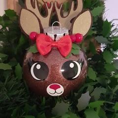 Handcrafted reindeer bauble/ornament