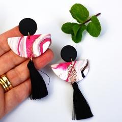 Polymer Clay Earrings, Half Moon Dangles Tassel Earrings Blackwood Lily