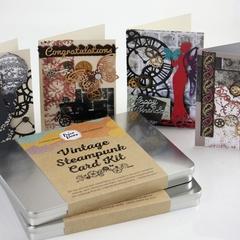Gift tin Card making kit- Makes 8 Vintage Steampunk Cards