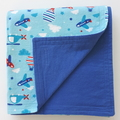 Flannel Baby Blanket - Hot Air Balloons, Helicopters and Planes