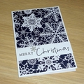 Merry Christmas cards - navy snowflakes