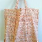 Foldable eco bag / White × Orange - WAVE / FREE SHIPPING