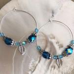 MINA Blue & Silver Boho Hoop Earrings
