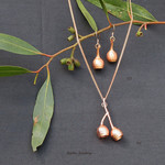 Matching copper plated gum nut necklace and earrings
