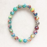Beautiful Painted Glass Bead Bracelet, Unique Gift, Vintage Style