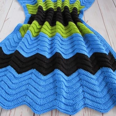 Chevron crochet blanket; azure blue, black, green; baby shower gift; OOAK