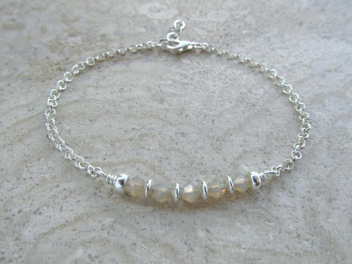 b0de75596 Beaded Bar Bracelet made with Sandy Swarovski Crystals and Sterling Silver  Chain   RAD Handmade Jewellery   madeit.com.au